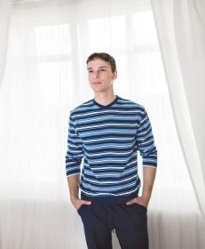 Pánské pyžamo modré pruhované