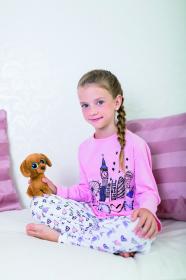 Dětské pyžamo růžové - vzor srdíčka